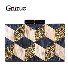 New Female Black Pearlescent Acrylic Evening Bags Vintage Women Messenger Bags Gold Sequins Clutches Patchwork Party Handbags цена 2017