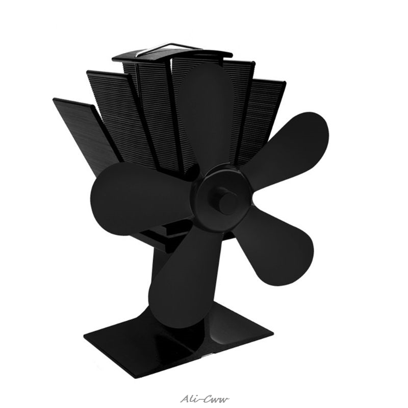 5 Blades Heat Self Powered Stove Top Fan Aluminium Silent Eco Friendly Fuel Saving For Wood