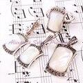 Frete grátis moda 10 X 15 / 8 X 15 / 12 X 20 MM muito branco SHELL de EARRINS prata pingente de 1 conjunto