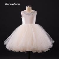 2017 Flower Girl dresses for Weddings Ivory Blue White Little Kids Satin First Communion Dresses Glitz Ball Gown Pageant Dress