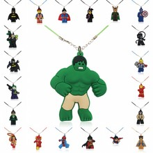 1PCS PVC Necklace Cartoon Figure Super Hero Batman Hulk  Chain Pendant Cute Minnie Charms Choker Fashion Jewelry