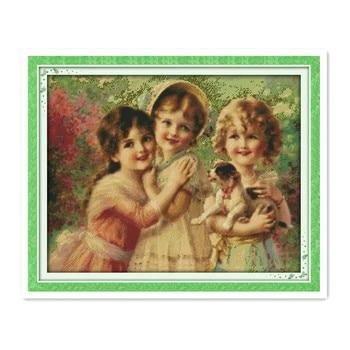 Three little angels-set de construcción de punto de cruz para hombre y...