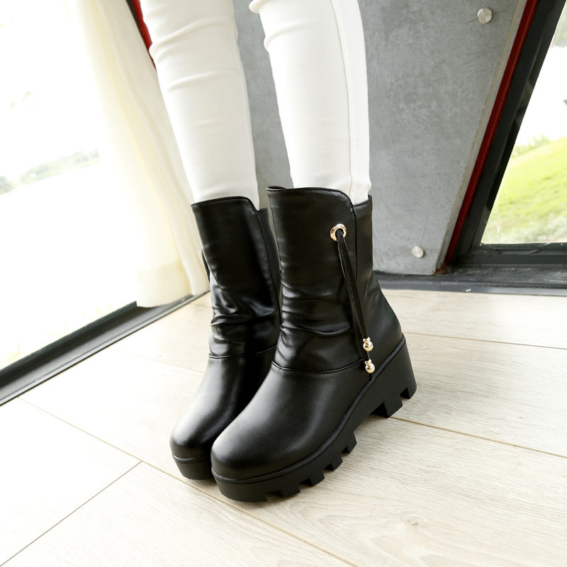 2018 Black Brown Comfortable High quality PU Slip-on Women boots Square Heels Ankle Shoe ...