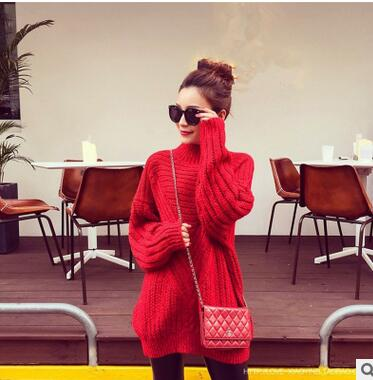 MLXSLKY Autumn sweater women thick loose red color pullover womens sweater fashion turtle neck long sleeve women's knit sweater
