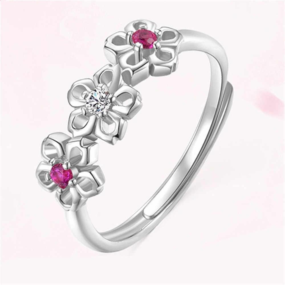 2019 ใหม่คริสตัล Rose Gold Silver Cubic Zircon Plum Blossom แหวนสำหรับสุภาพสตรีงานแต่งงานงานแต่งงานเครื่องประดับ Bijoux ของขวัญ
