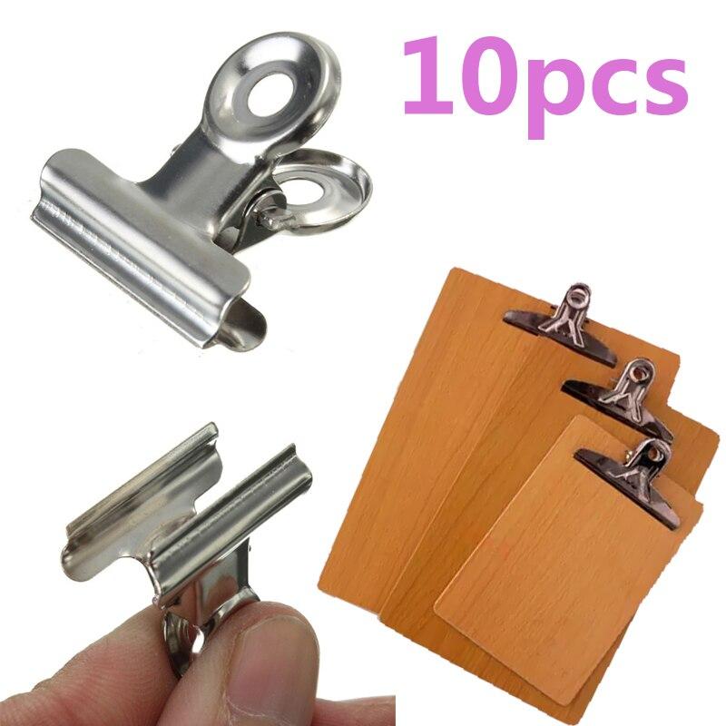 10 шт. мини бульдог из нержавеющей стали серебряный Металл бумага письмо скоросшиватель зажимы инструмент
