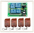 DC 12V 10A 4 channel RF Wireless Remote Control system 1 piece Receiver 4 piece Simple and practical Transmitter 315MHZ
