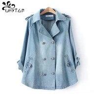 UHYTGF-Chaqueta lisa con cuello de tela vaquera para mujer, abrigos informales holgados, azules, a la moda, prendas de vestir para mujer, Denim femenino X137