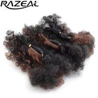Razeal 3 Stks/partij Korte Afro Kinky Krullend Ombre Synthetisch Haar Weave Bundels Haarverlenging Hoge Temperatuur 60 Gram/partij