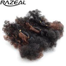 Razeal 3 шт./лот короткие Afro Kinky фигурные Ombre Синтетические волосы Weave Связки Наращивание волос высокое Температура 60 г/лот