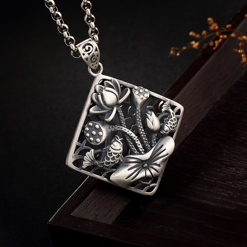 990 Sterling Silver Jewelry Pendant Antique Vintage Lotus Flower Pendant For Women Fine Jewelry Thomas Sabor990 Sterling Silver Jewelry Pendant Antique Vintage Lotus Flower Pendant For Women Fine Jewelry Thomas Sabor