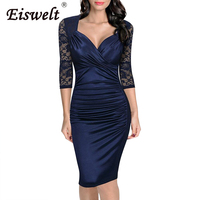 EISWELT Summer Dress Women New Robe Femme Sexy Sheer Lace Pencil Dress Patchwork Knee Length Bodycon