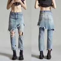 2017 удивительные Джинсы для женщин, мода высокой талии джинсы, уникальный рваные джинсы для женщин, повседневная boyfriend джинсы для женщин джин
