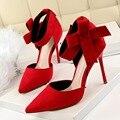 Женщины Большой Галстук-бабочка Насосы Бабочка Указал Шпильках Обувь На Высоких Каблуках Свадебные Туфли Бантом желательно Креста Ремень Zip Шпильках