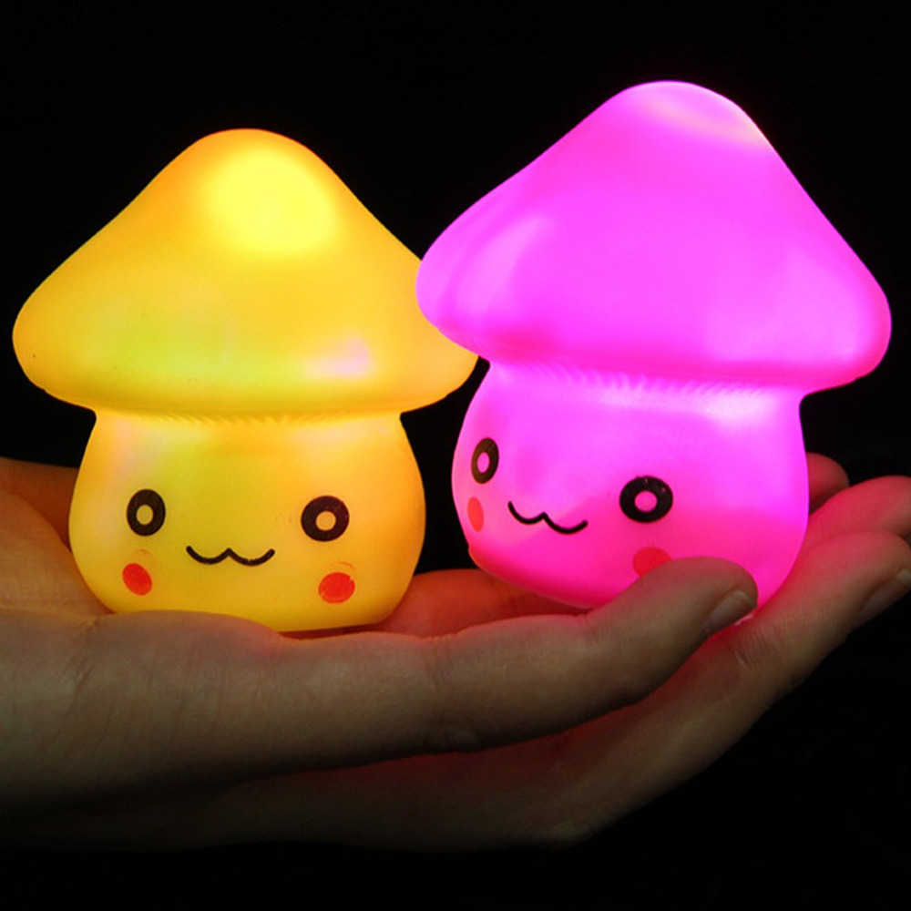 Colorful Gradient LED Mushroom Nightlight Magic Bedside Sleeping Desk Table Lamp Decoration GC001040 Color Random