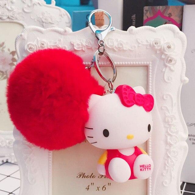36e31d80a Cartoon Rabbit Fur Ball Cute Minions Hello Kitty Keychain Fur Pom Pom Key  Rings Women Car Bag Charms Pendant Key Chains Holder