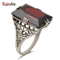 Szjinao Fine jewelry border pattern fret antique jewelry punk replica garnet women 925 silver sterling ring luxury Brand
