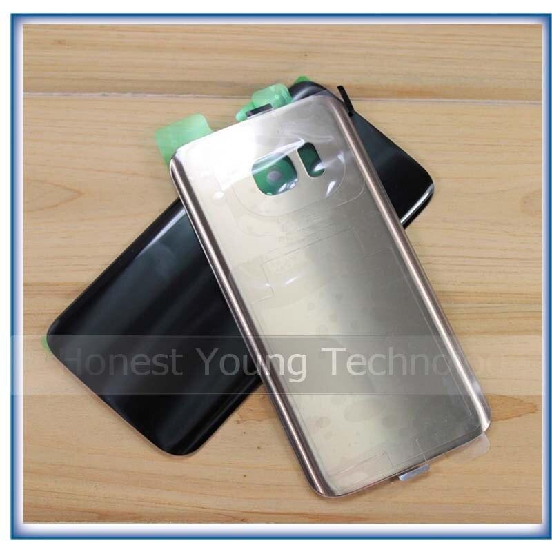 Pour Samsung Galaxy S7 G930/S7 bord G935 Arrière retour Glasss Batterie Couverture avec Logo et Autocollant Rose Ciel bleu