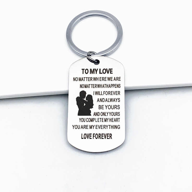 DIY парный брелок из нержавеющей стали в мою любовь независимо от того, где ключи автомобиля rong для мужчин женщин подарок брелок ювелирные изделия K2198