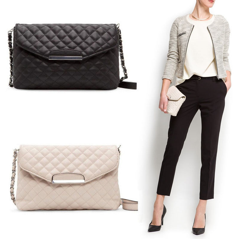 1Pc Small Boho Handbags Women Girls Faux PU Leather Chain Plaid Clutch Handbag Purse Single Crossbody Messenger Bag White Black цена 2017