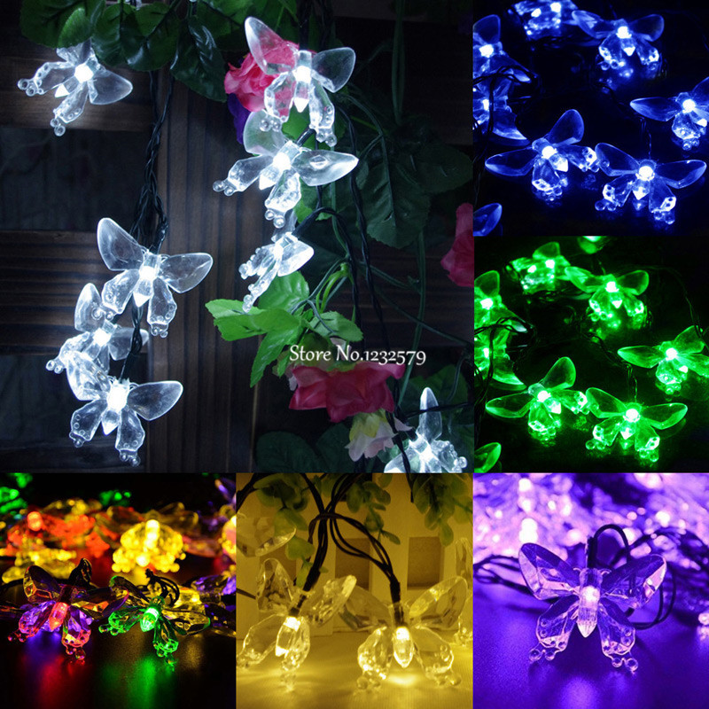 50 LED Solar Power Butterfly Flower String Fairy Light Party Xmas Outdoor