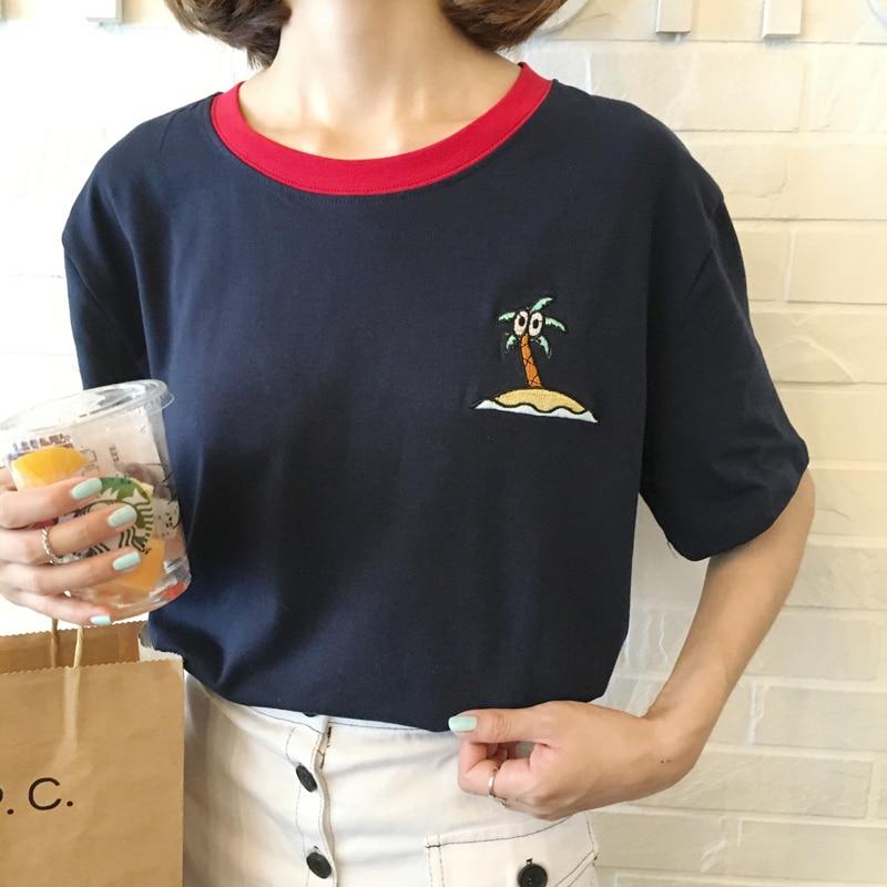 Harajuku camisa mulheres 2018 coreano verão novo estilo rock kawaii  coqueiro bordado bonito letras impressas t shirt mulheres encabeça em  Camisetas de ... afbce3afe6024
