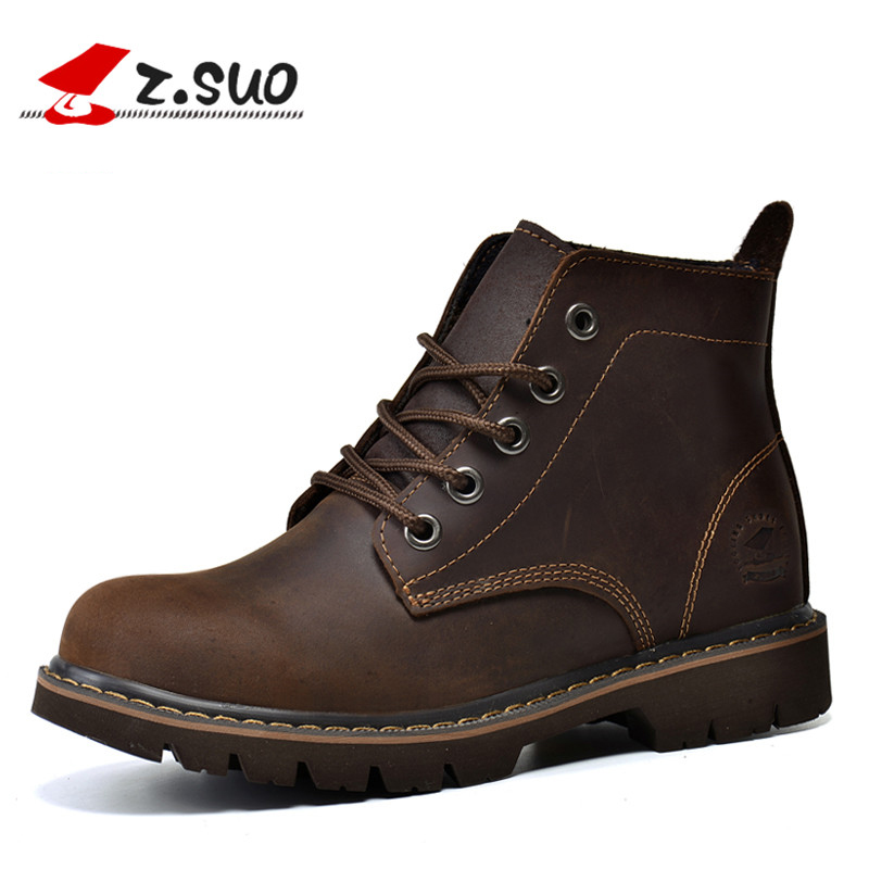 z.suo Brand Design Retro Winter Women Ankle Boots Genuine Leather Casual Safety Shoes Woman Flats Ladies Work Boots Brown ZS307N armoire hot sales black yellow red brown gray flats women slouch ankle boots solid ladies winter nude shoes aa 3 nubuck