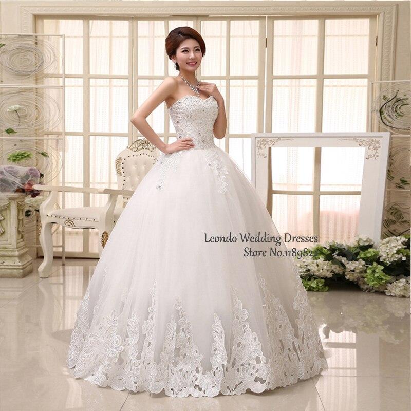 Cheap wedding dresses leondo novia lace ivory ball gowns simple ...