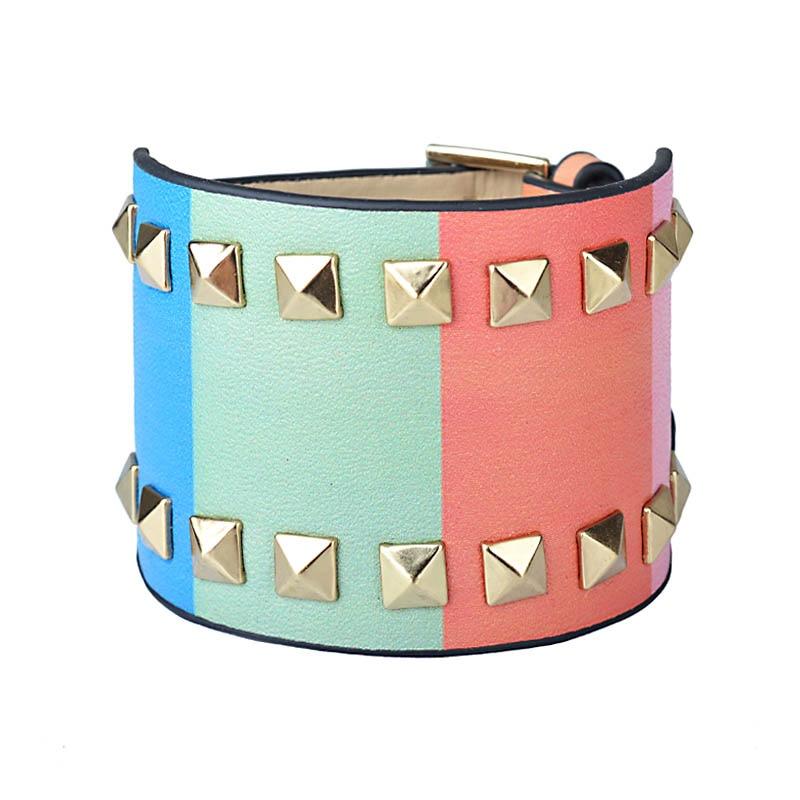 Kirykle-bracelet en cuir pour femmes, bijou Punk classique, nouveau Style, breloque multicolore, à rivets larges, à la mode