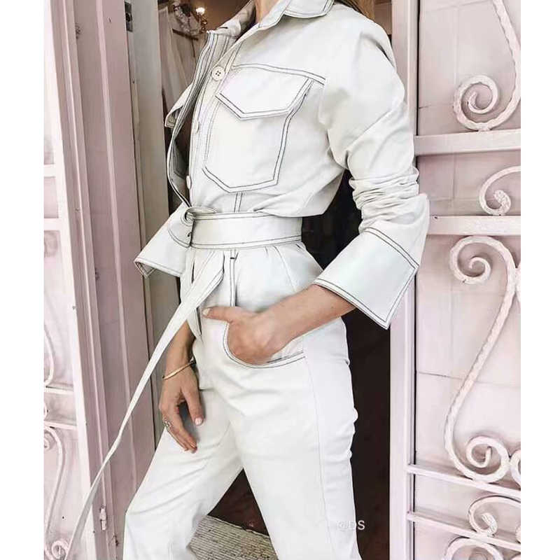 45aa9610a8d American Street Style Women Solid Straight Leg Ankle Length umpsuits 2 Colors  Women Casual Waist Sashes