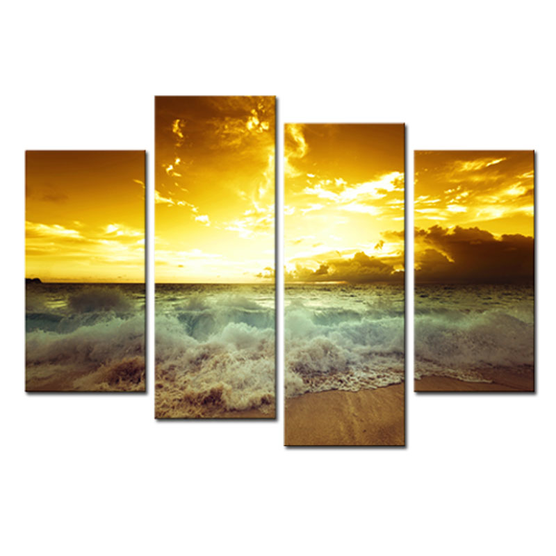 4 Pieces Pretty Modern Wall Art Sea Wave Seascape Painting Printed ...