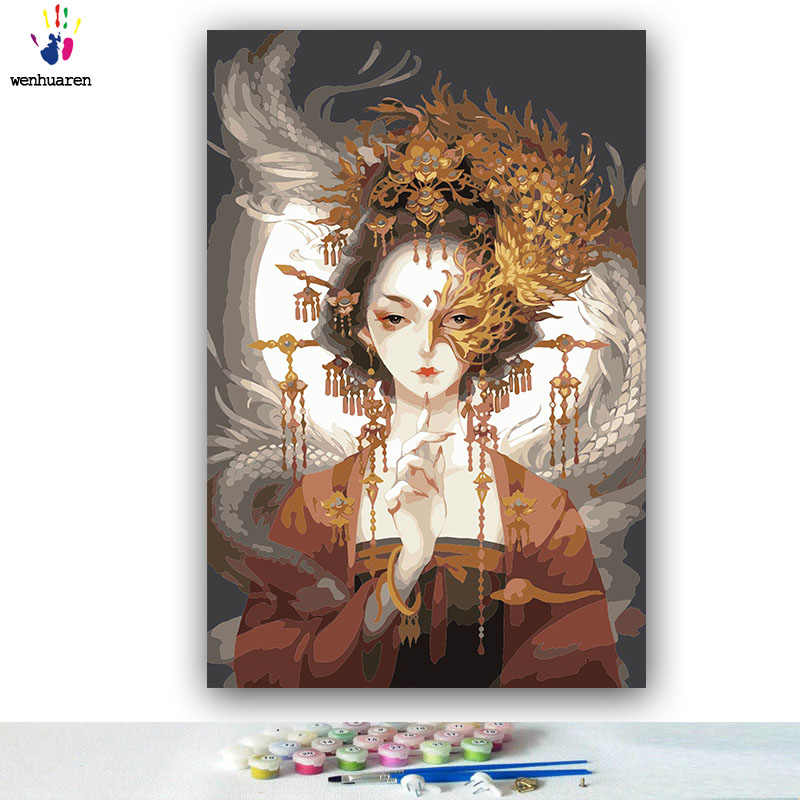 diy painting by numbers figure ancient Chinese goddess Dragon and phoenix pictures paint by numbers with kits tools for adults