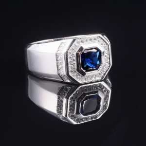 Wedding-Band-Ring Jewelry Sapphire-Rings Engagement Silver 925-Streling Blue Men's Boys