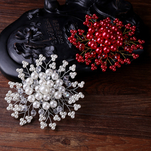 Fashion Silver Red Hair Jewelry Simulated Pearl Rhinestones Tiaras Hair Comb Birdal Head Pieces Wedding Women Hair Accessories