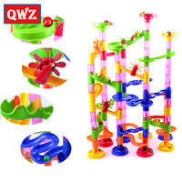 QWZ 105pcs DIY Construction Marble Race Run Maze Balls Building Blocks Deluxe Marble Race Game Toys
