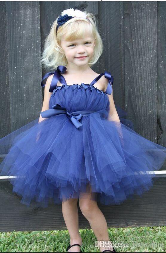 37845b1b6096 2017 Royal Blue Cute Baby Toddler Flower Girl's Dresses Bow Straps Tea  Length Formal Wedding Party Dresses Cheap 2016