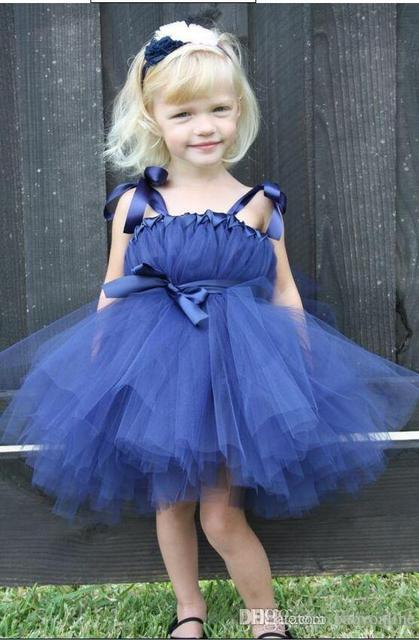 eff13a7e43 2017 Royal Blue Cute Baby Toddler Flower Girl's Dresses Bow Straps Tea  Length Formal Wedding Party Dresses Cheap 2016