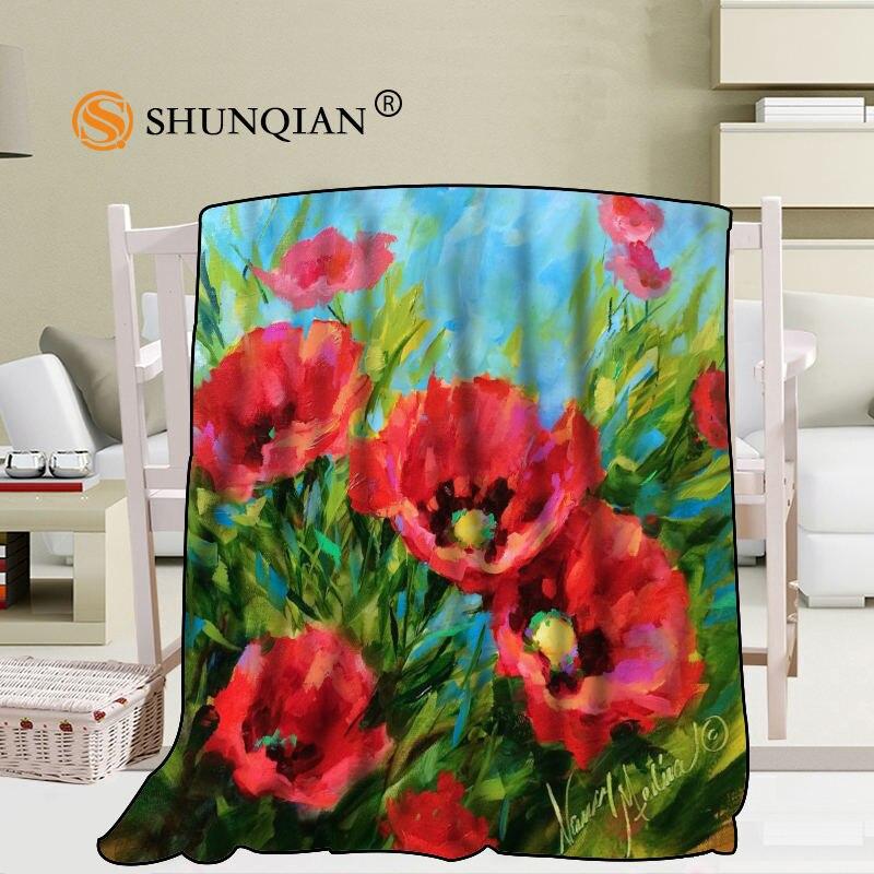 Custom Poppy Flowers Poppies Blanket Blending Fabric 58x80inch 50X60inch 40X50inch Sofa Bed Throw Blanket Kid Adult Warm Blanket
