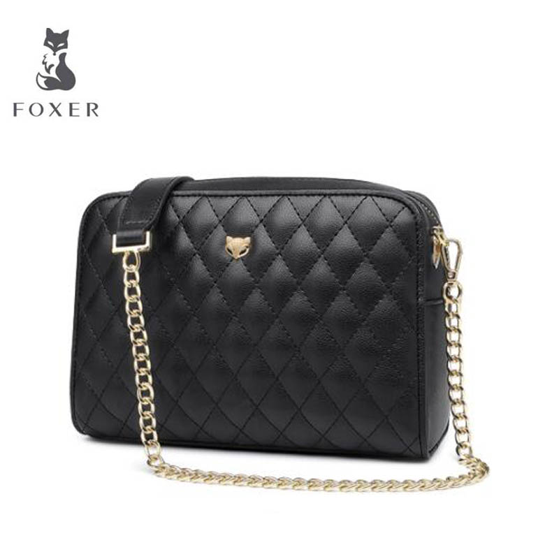 2018 New FOXER women leather bag fashion Lingge chain small bags women handbags designer shoulder bag Handbags & Crossbody bags new fashion women leather handbags 2017 luxury designer patchwork shoulder bags small crossbody bag with chain for women girls