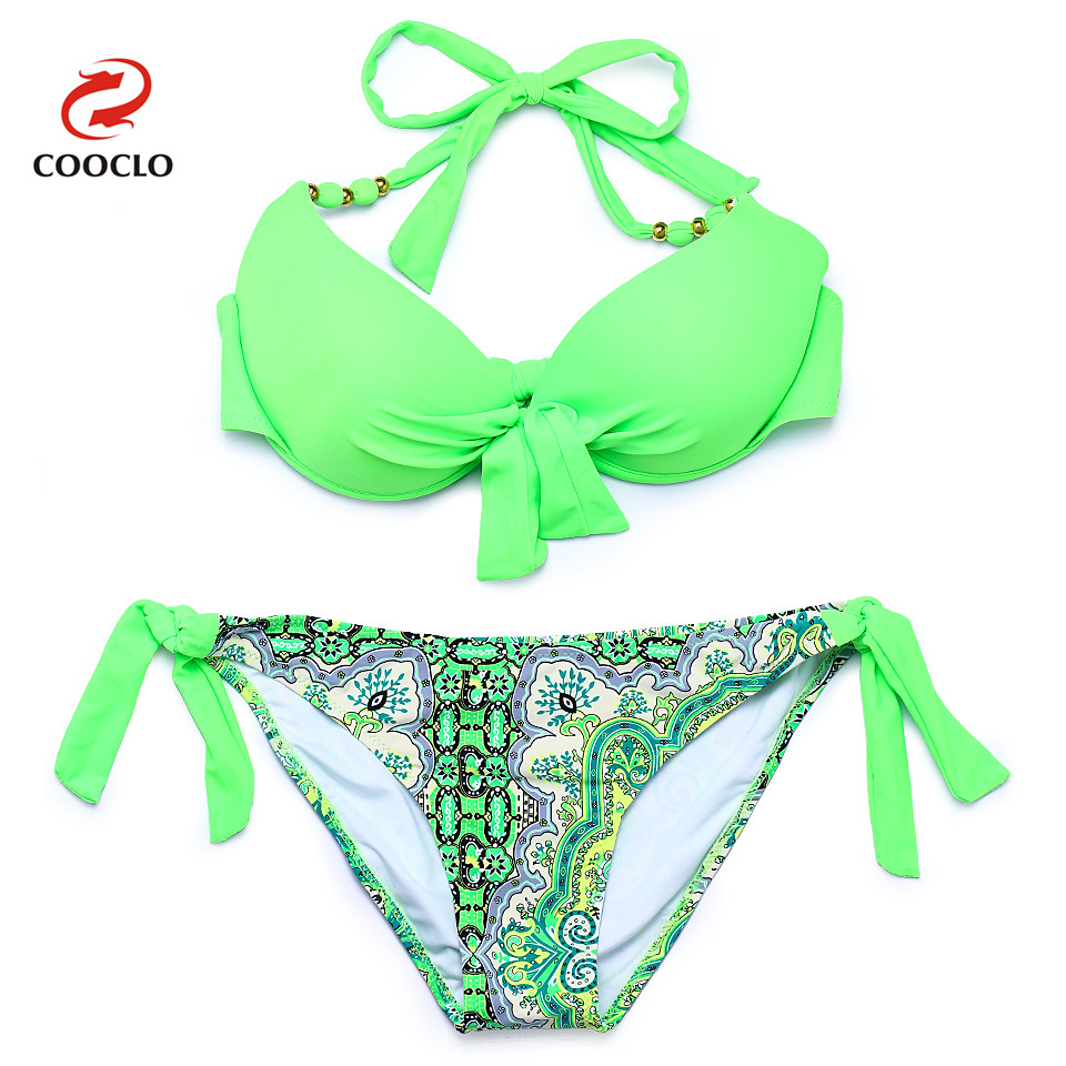 COOCLO Bikini 2017 Push Up Swimwear Women Swimsuits Halter Floral Vintage Bikinis Set Swimming Bathing Suit Tie Side Beach Wear