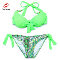 2015 Women Hot Bikini Push Up Swimwear Explosion Models Bandeau Biquini Vintage Triangle Brand Name Women