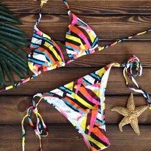 Colorful Striped Lace Straps Push Up Low Cut Biquinis