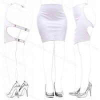 1 SZTUK Kobiety PU Leather Krótki Bondage Fetysz Mooning Klepanie Spódnica Fetysz Erotyczne Dress