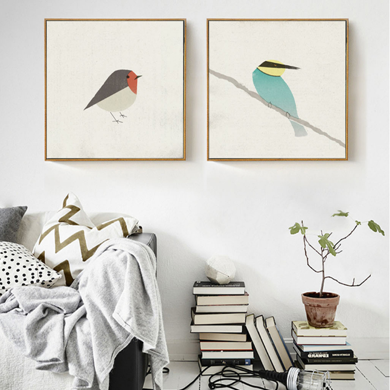 SURE LIFE Cute Birds Robin Bee-eater Canvas Painting Posters and Prints Nordic Pop Wall Art Pictures for Living Room Home Decor