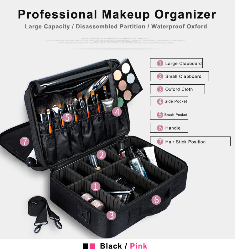 Women High Quality Professional Makeup Organizer Bolso Mujer Cosmetic Case Large Capacity Storage Bag Free Disassembly Suitcases In Bags Cases