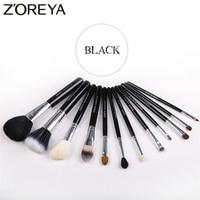 ZOREYA 12pcs Natural Wooden Handle Makeup Brushes High Quality Animal Hair Makeup Brush Set Eye Shadow