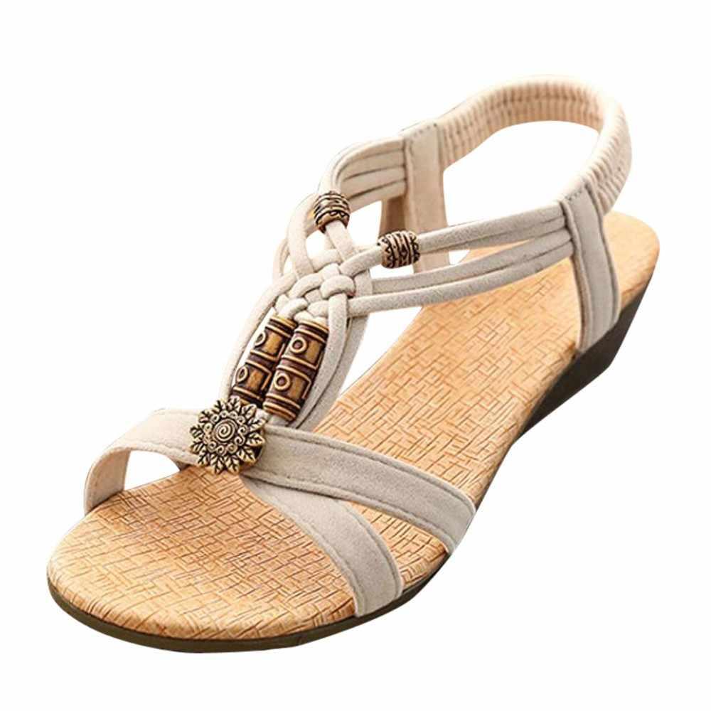 女性のサンダルの女性のカジュアルのぞき見つま先フラットバックル靴ウェッジはスリップオンローマの夏のサンダルソマー schuhe ダーメン sandalias mujer