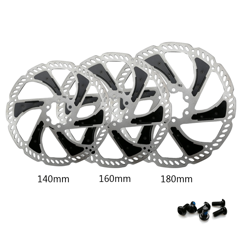 High Quality MTB Road Bicycle Disc Brake 140mm 160mm 180mm Radiating 6 Bolts Bike Disc Rotor With Bolts Bicycle Accessories