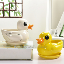 Cute little duck Ceramic flower pots Cartoon animals plant pots
