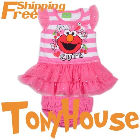 Baby girl's 2013 summer new skirt suit, cartoon  Sesame street 2pc sets flutter sleeve dress+briefs clothing sets free shipping